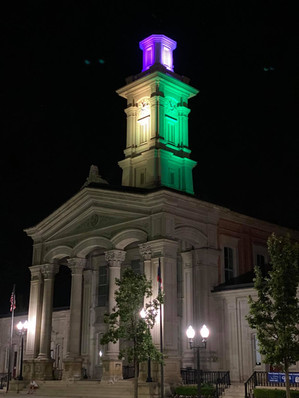 Ross County Courthouse lit up in the colors of the Rainbow flag in celebration of PRIDE weekend July 2020