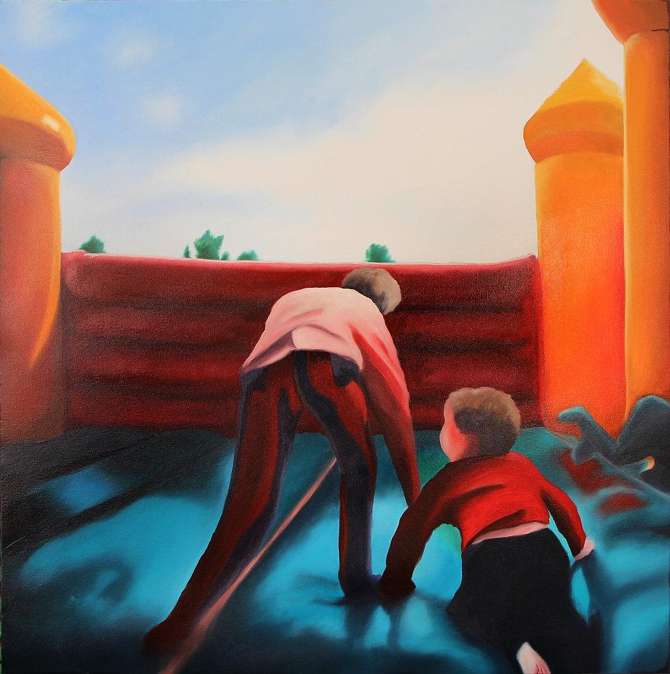 Lucas Pfeiffer, Château, huile sur toile 100x100cm, 2018