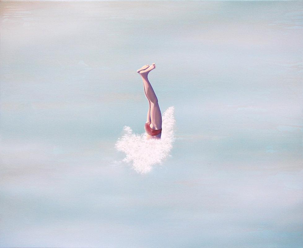 Plongeon, acrylique et huile sur toile, 81x100cm, 2020