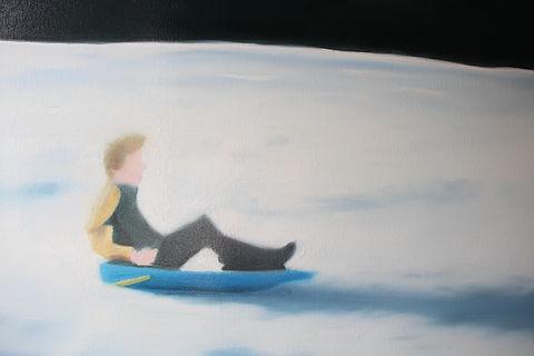 Lucas Pfeiffer, Luge ( détail ), huile sur toile 100x100cm, 2018