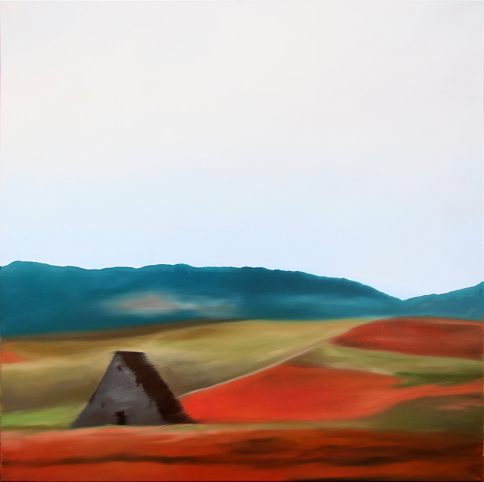 Lucas Pfeiffer, Champs, huile sur toile 100x100cm, 2018