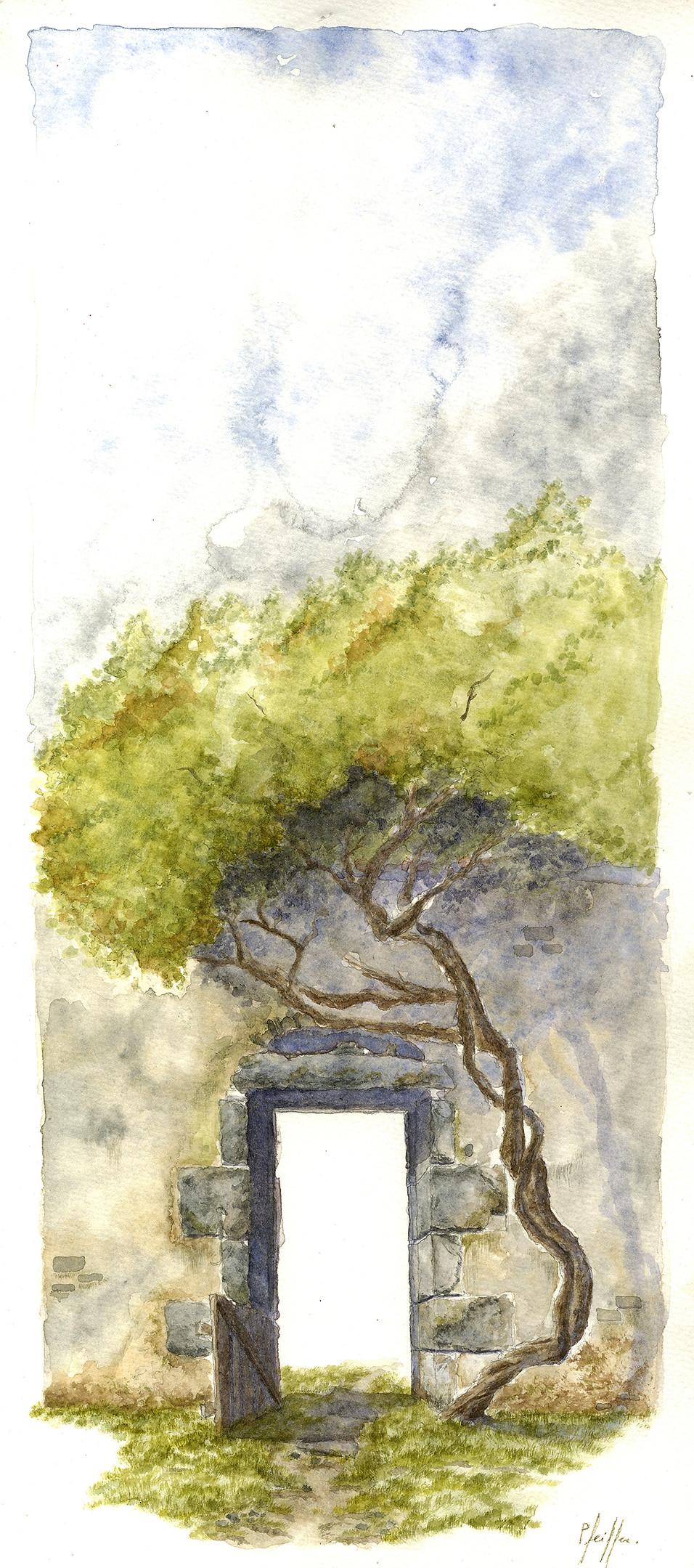 Lucas Pfeiffer, Chasseneuil-sur-Bonnieure, France, aquarellesur papier, 24x50cm, 2015