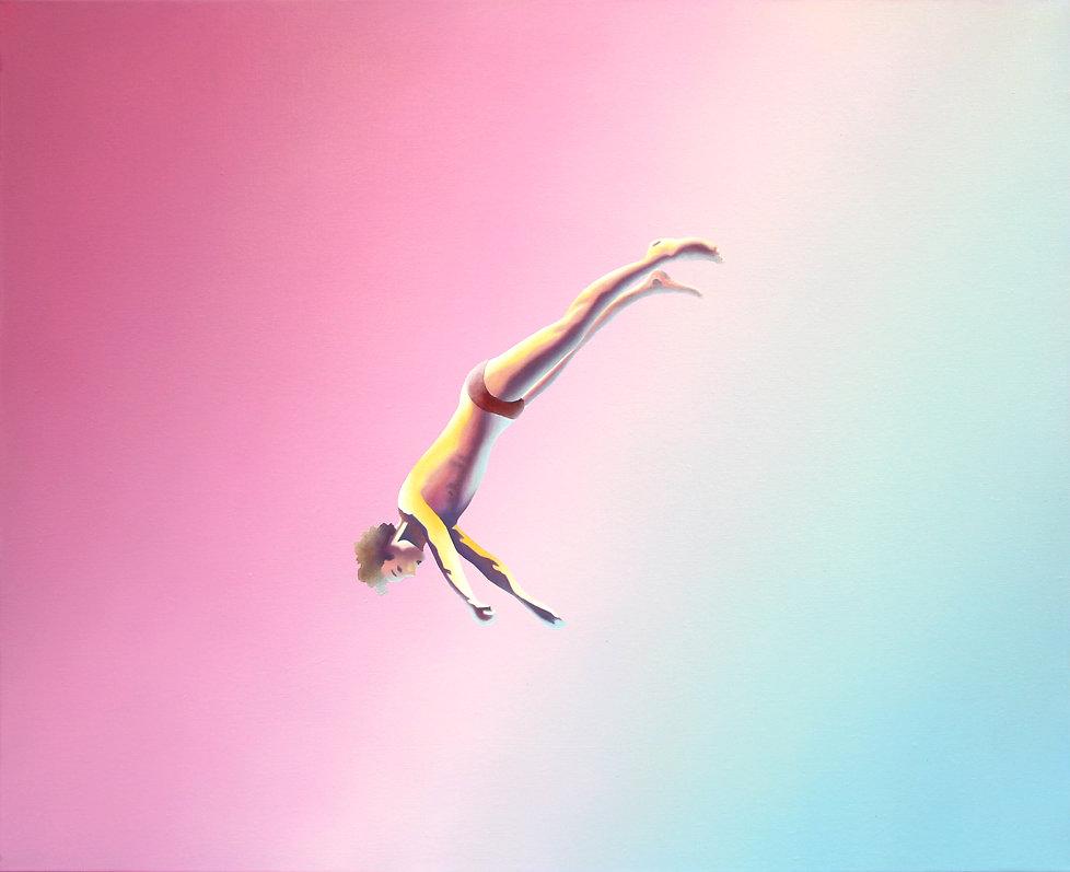 Le saut, acrylique et huile sur toile, 81x100cm, 2020
