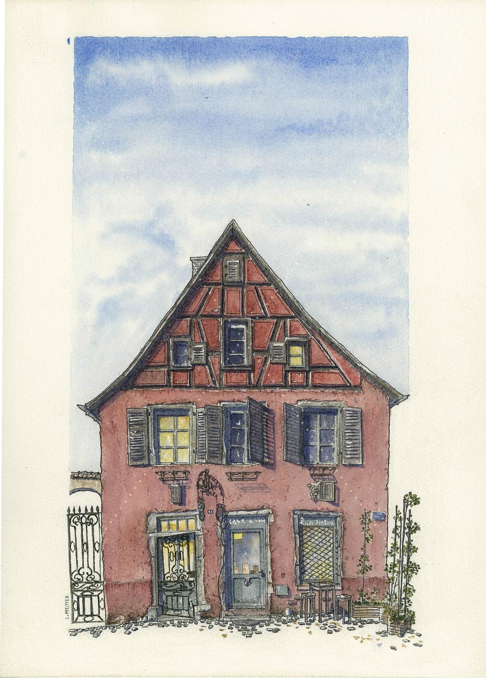 """Lucas Pfeiffer, """"Maison alsacienne"""" Colmar, France, aquarelle et gouache sur papier, 29,7x42cm, 2018"""