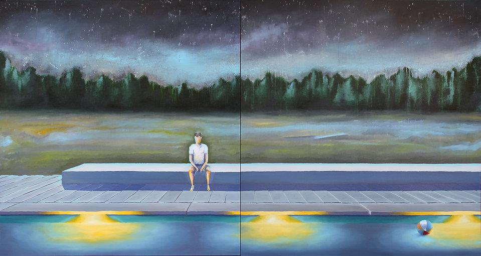Lucas Pfeiffer, Fête à la piscine, huile sur toile 140x260cm, 2019