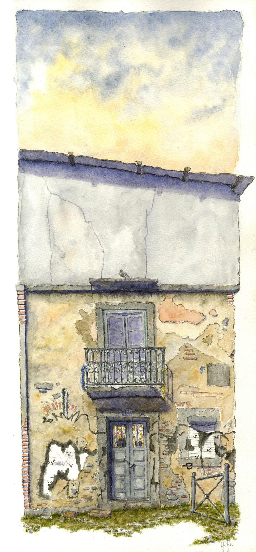 Lucas Pfeiffer, Lisbonne, Portugal, aquarelle et gouache sur papier, 24x50cm, 2015