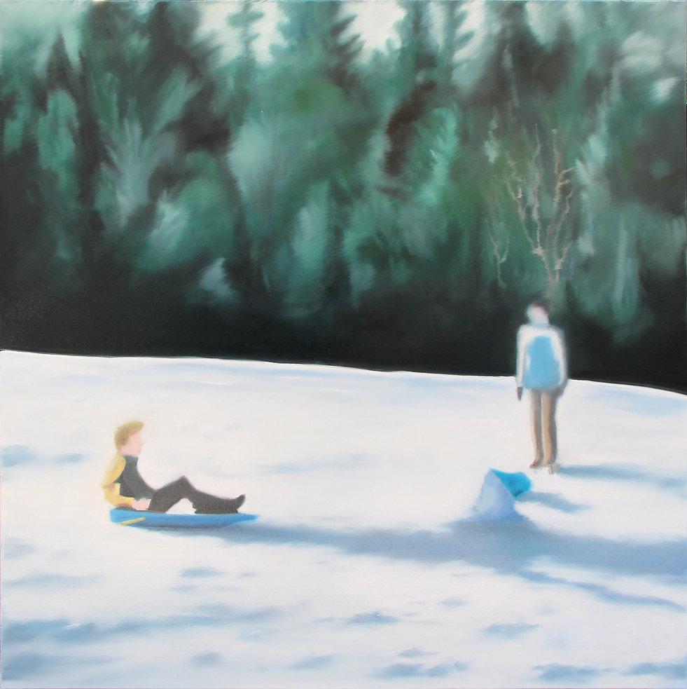 Lucas Pfeiffer, Luge, huile sur toile 100x100cm, 2018
