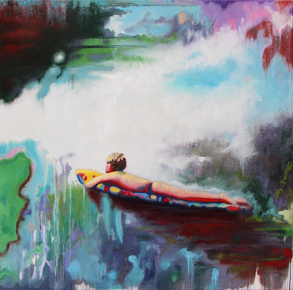Lucas Pfeiffer, Baignade, huile sur toile 100x100cm, 2018