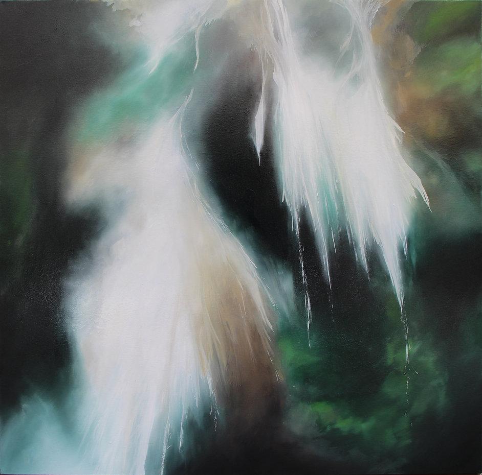 Lucas Pfeiffer, Cascade, huile sur toile 100x100cm, 2018