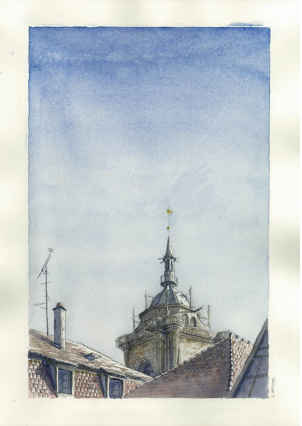 """Lucas Pfeiffer, """"Saint-Martin"""" Colmar, France, aquarellesur papier, 29,7x42cm, 2018"""