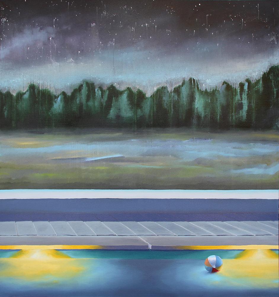 Lucas Pfeiffer, Fête à la piscine ( partie 2 ), huile sur toile 130x140cm, 2019