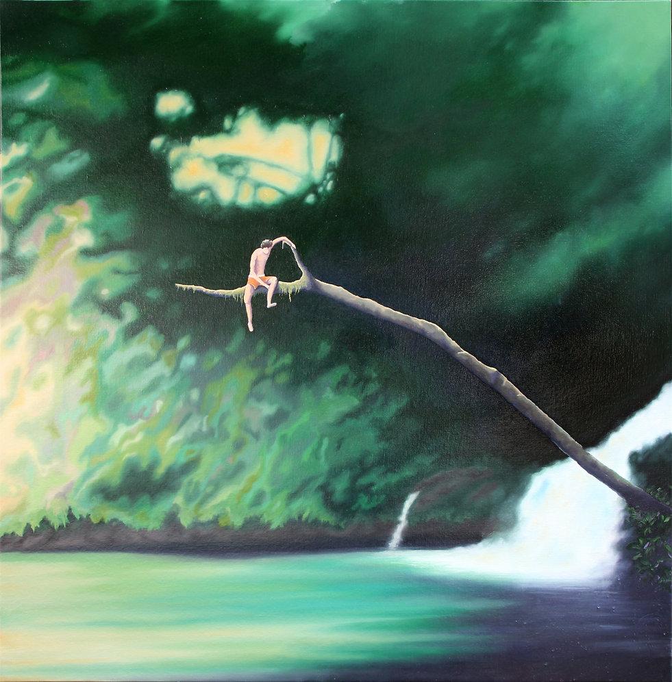 Lucas Pfeiffer, Le saut, huile sur toile 100x100cm, 2018