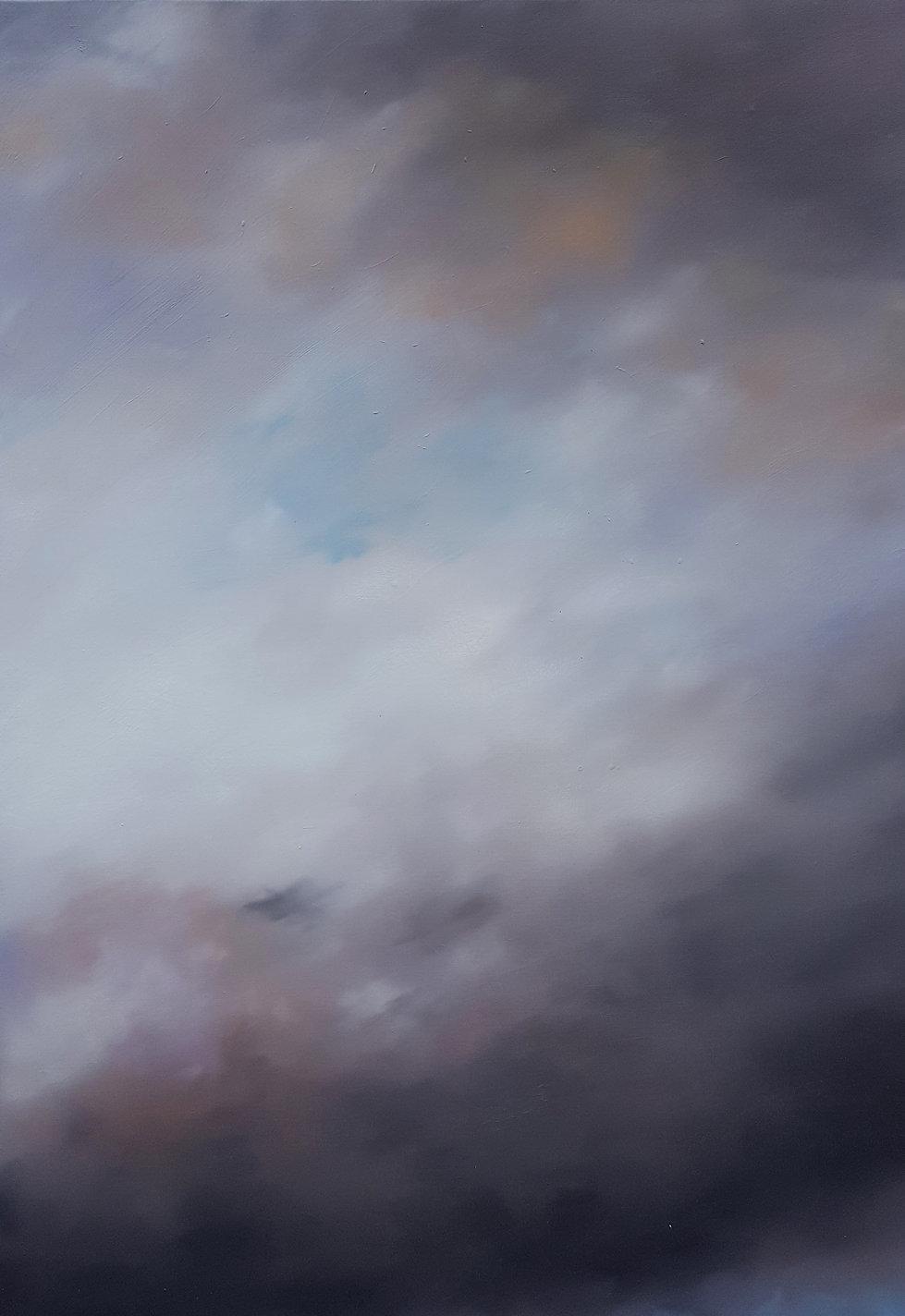 Lucas Pfeiffer, Ciel, huile sur toile,quadriptyque, 420x150cm, 2018