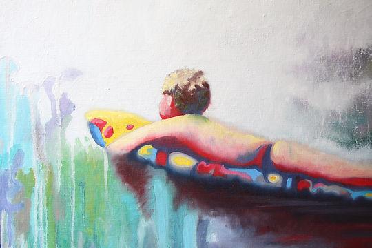 Lucas Pfeiffer, Baignade ( détails ), huile sur toile 100x100cm, 2018