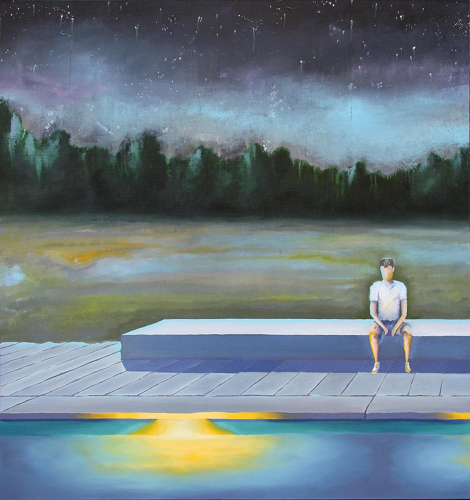 Lucas Pfeiffer, Fête à la piscine ( partie 1 ), huile sur toile 130x140cm, 2019