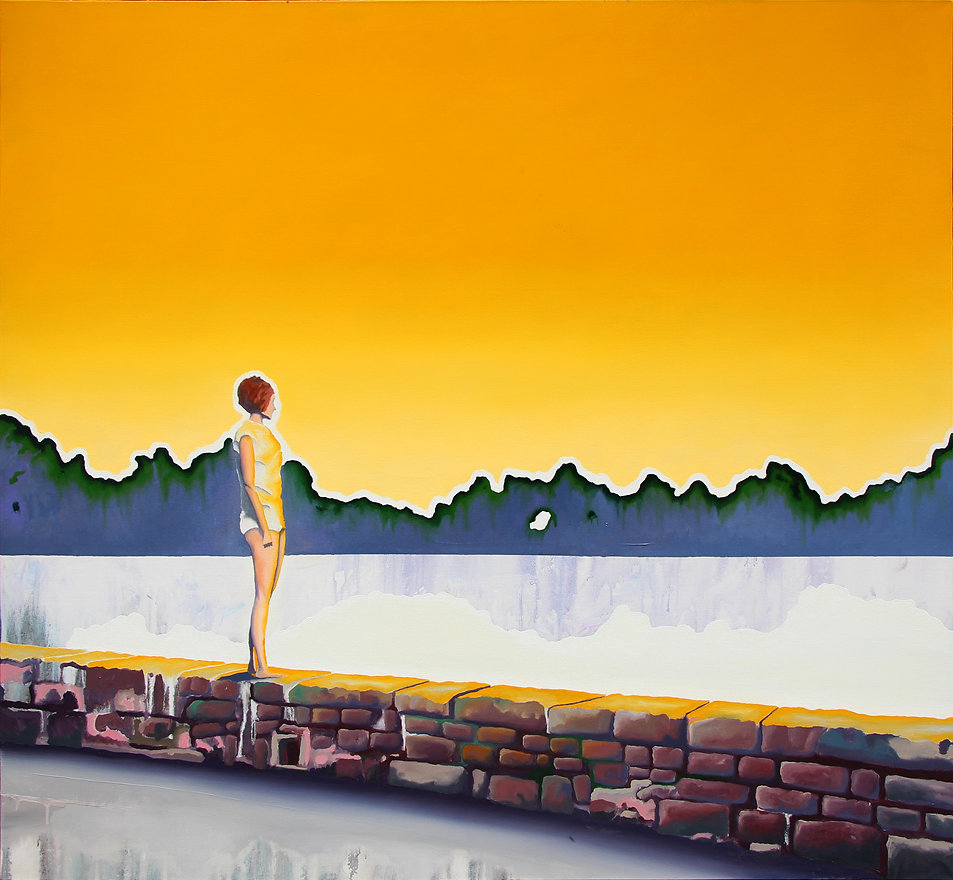 Lucas Pfeiffer, La berge, huile sur toile 130x140cm, 2018