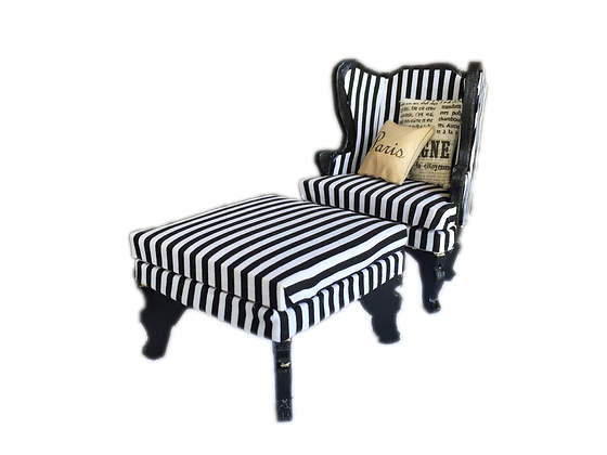 Arm chair and Ottoman in B&W Stripes
