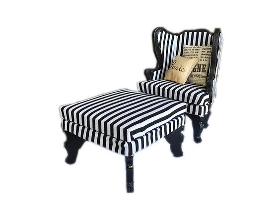 Arm chair and Ottoman B&W Stripes