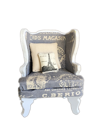 Arm Chair  (Blue French Postage Upholstery)