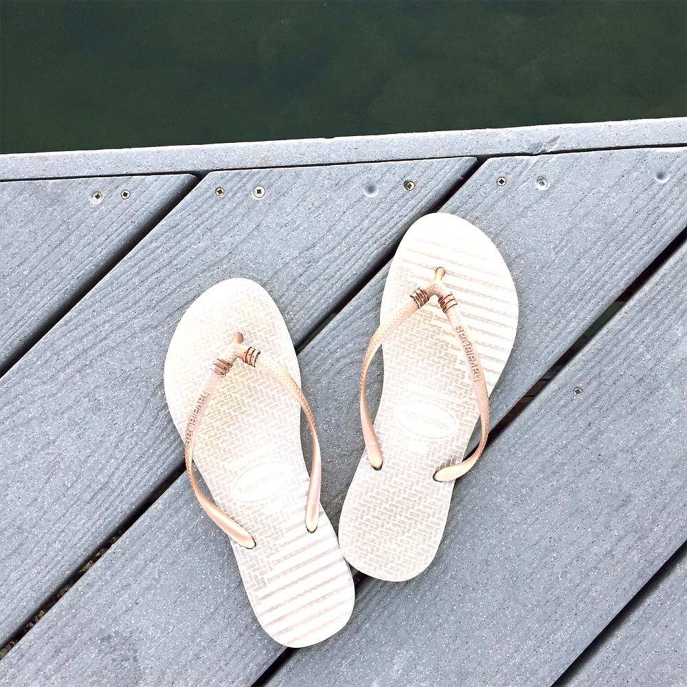 Havaianas, flip flops, gold flip flops, dockside, jetsetter, Florida keys