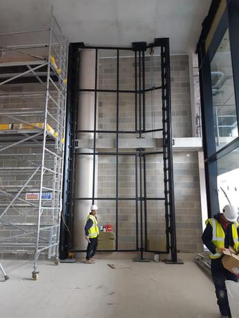 (18) Steel framework for reception artwork installation 245 Hammersmith Road
