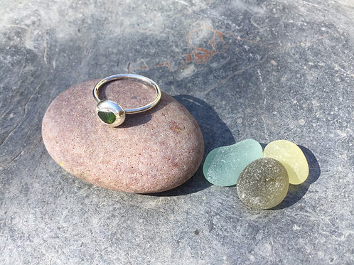 Sea Glass Pebble Ring