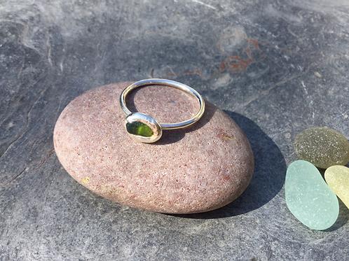 Seaglass & Silver Pebble Ring