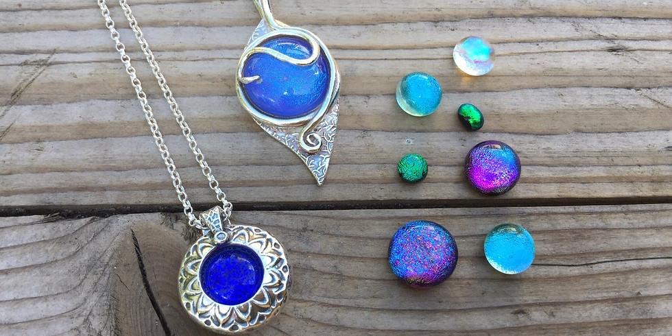 Dichroic Glass & Silver Clay