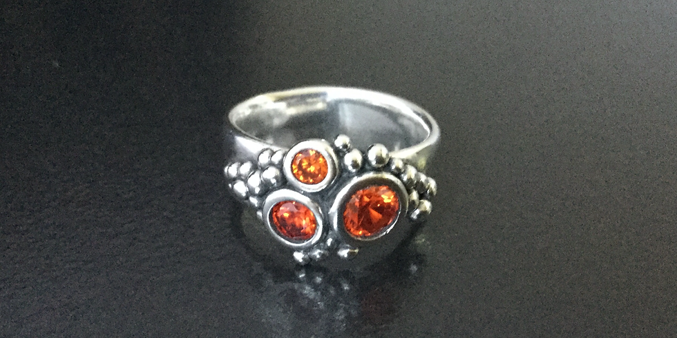 SOLD OUT Silver Clay Sparkly Gemstone Rings