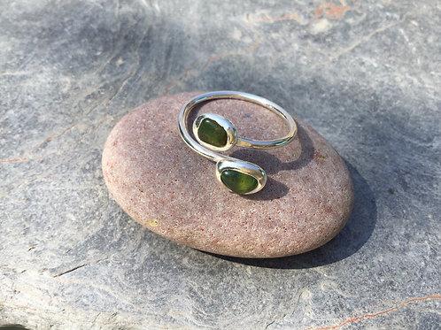 Double Wrap Seaglass Pebble Ring
