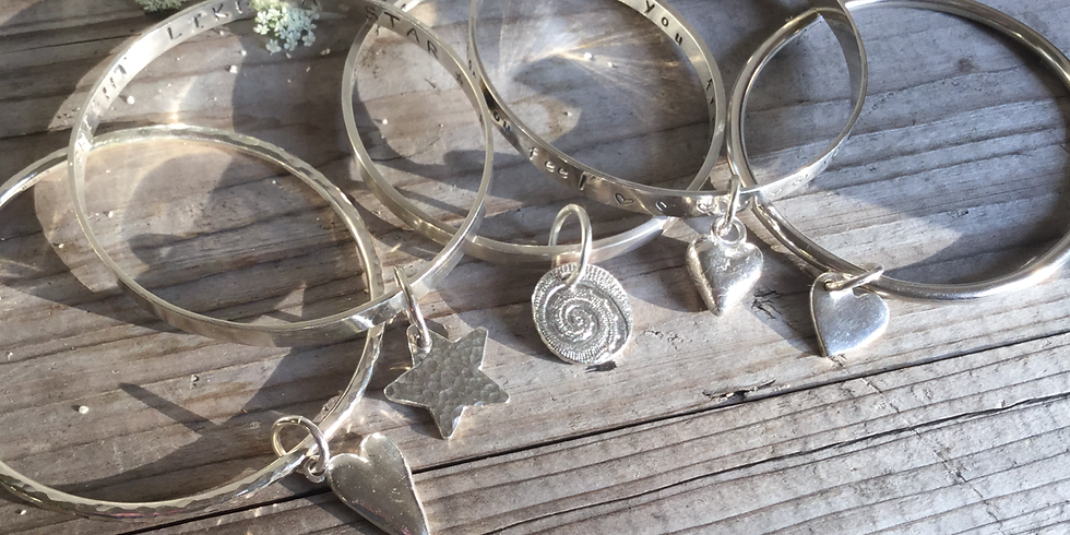 SOLD OUT- Silver Bangle and Charm