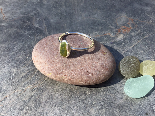Sea Glass & Silver Pebble Ring