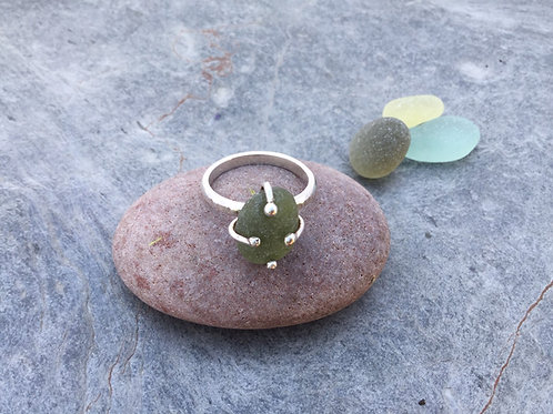 Olive Seaglass Silver Ring