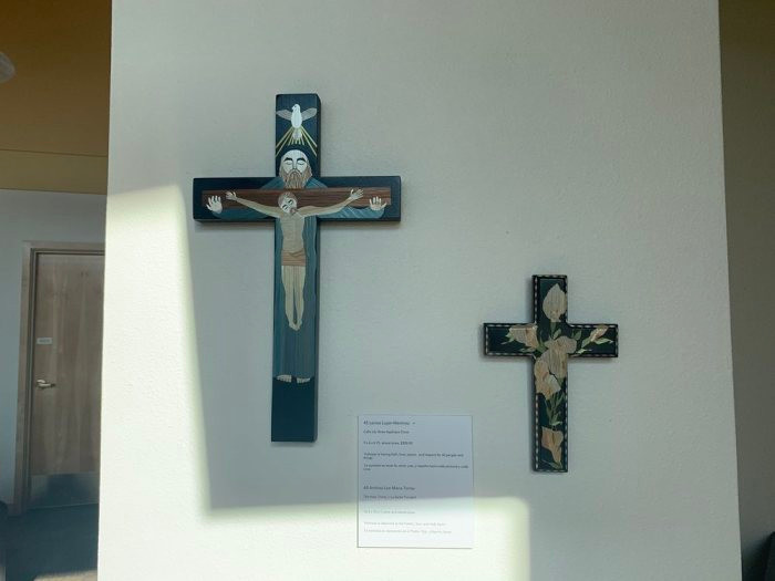 The Holy Trinity (Left) & Calla Lily Straw Appliqué Cross (Right)