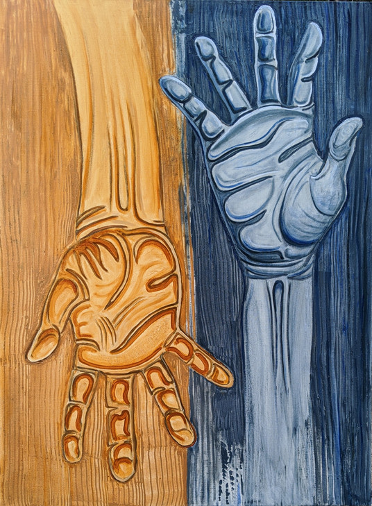 """Adrian Martinez  """"Manos Extrañándose (Hands reaching for each other)"""" 30"""" x 40"""" oil on canvas  This piece is about the year 2020. The two hands are reaching for one another but not quite touching, It is about social distancing, separation and distancing we have done to one another. But it is hopeful because the hands are reaching towards one another in an expression of  humanity and connection. It has been a difficult year but there is always hope if we choose to reach out to one another.  ARTIST STATEMENT I am a life-long artist who loves to create art that reflects the beauty of our incredible state. I try to incorporate the land, the colors, the people and energy that resonate around us. New Mexico is a very unique part of the world where ancient cultures and histories survive and thrive. I grew up in Santa Cruz in northern New Mexico where I was surrounded by a very strong artistic and historic influence. These influences are evident in my work and have also served as an inspiration. *Cover Artist"""