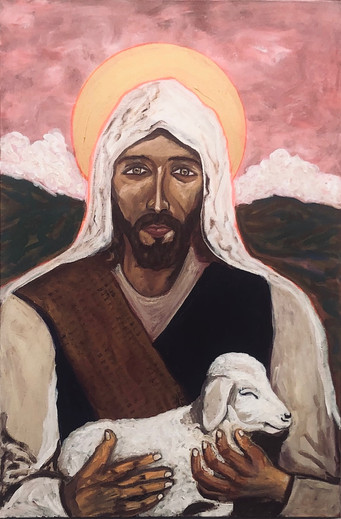 """Chris Baca """"The Good Shepherd"""" 36"""" x 48"""" acrylic painting  """"The Good Shepherd"""" to recall how Jesus would tell the story of how God cared for his people. A shepherd spent a great deal of time with his sheep and most likely knew each one by name. Every sheep was important and his goal is to keep every one of them safe.  This is the kind of care that God has for mankind. He knows each of us by name. He does not want even one of us to go astray. Mankind had gone astray and God sent his son, Jesus, to find us. That is what gives us hope and helps us heal from life's many trials and tribulations.   ARTIST STATEMENT I am a self taught, amateur painter. I paint so that I may express myself in creative ways. I often tell a story to accompany the painting. My family is very important to me and recently we lost our eldest son, Marcos Baca. He was 41 years old and left behind a wife and 3 kids. Painting has been a sort of release of the pain and grief of that loss. For the past 47 years I've lead two significant non profits, YDI (Youth Development, Inc.) and Yes Housing, Inc. Both seek to improve the lot and lives of children, youth, families and elders by providing services and housing to these vulnerable populations."""