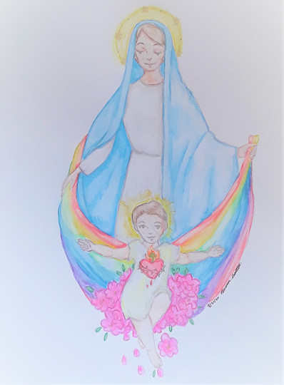 """Briana Cutler  """"A Gift from Mom"""" 5"""" x 7"""" watercolor pencils  What's been happening lately I think we all need a rainbow. The theme is on hope and healing, and for me, this means having faith that God won't lead us to despair. Mary agreed to be the mother of Jesus; you gave us hope. Mary gave us confidence by giving us her son, Jesus. The  rainbow represents Genesis 9, where God tells Noah, """"Whenever I bring clouds over the earth, and the rainbow appears in the clouds, I will remember my covenant between you and me and all living creatures of every kind. Never again will the waters become a flood to destroy all life.""""   ARTIST STATEMENT Hello, I'm Briana. I enjoy making art as a hobby for several years now. I usually draw people, and my art style is cartoonish with a little bit of realism. The materials I mostly use are either markers or watercolors. I study at the University of New Mexico, pursuing a degree in History with a minor in Anthropology."""