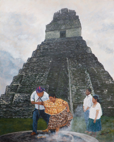 """Bill Mohr """"Maya Shaman"""" 24"""" x 30"""" oil on hardboard $700.00  Different cultures throughout history have expressed their vision of hope and healing in many different ways. This painting depicts a contemporary healing ritual at Tikal, a pre- columbian site in Guatemala. Through performed rituals these shamans offered healing.   ARTIST STATEMENT I like to refer to myself as a documentary painter with a photography background. Most of my work relates to my neighborhood and the people in my life. I live in a neighborhood where some families have roots that go back three hundred years. The rich cultural life here is unique, and I want to preserve visible aspects of it before it all disappears. Many of the subjects of my paintings – buildings, people – are already changed or gone. I am also inspired by the closeness of the open spaces, both mountain and high desert, as well as the ways people express themselves visually through things like hand-painted signs for businesses, and grafitti and murals on walls. I also like to make paintings of places I have visited on vacations.  Contact: billmohr19@comcast.net"""