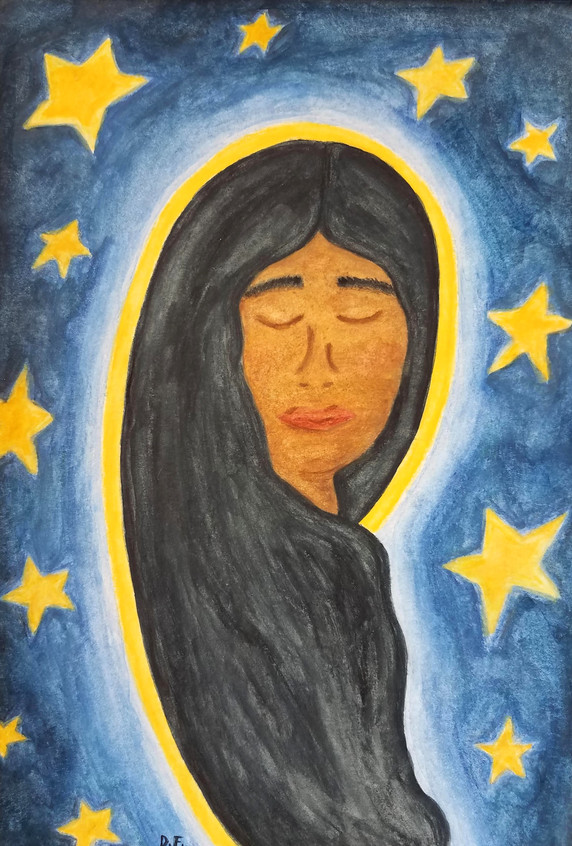 """Sr. Desiré Anne-Marie Findlay  """"Clothed in Dignity"""" 6"""" x 9"""" watercolor pencils  I have always loved Mary. She is a symbol of strength and beauty, with a solid trust in God that inspires hope in those who seek to follow her example. When I contemplate her motherly love in the image of Our Lady of Guadalupe, I see a human being whose love is complete, who gathers up the outcast, the oppressed, and children of all cultures. She feels like one of us, and her love becomes a source of healing.   ARTIST STATEMENT My name is Sister Desiré Anne-Marie Findlay and I am a member of the Congregation of the Sisters of Saint Felix of Cantalice, a Franciscan community otherwise known as the Felician Sisters. I grew up in Albuquerque, NM but currently live near Pittsburgh, PA where I minister as the Vocation Director for my congregation. I have enjoyed writing, dancing, and drawing since I was a child. While I haven't taken any professional courses to improve my skills, I still enjoy writing, dance, and art as forms of prayer that enrich my relationship with God."""