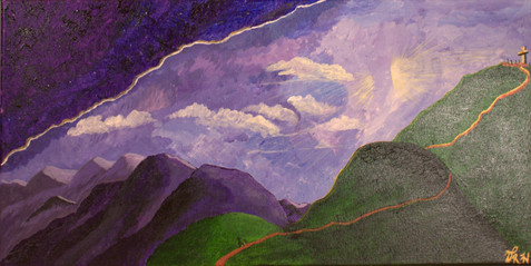 """Vivian Hairston """"A Pilgrim's Journey"""" 12"""" x 24"""" acrylic on canvas  Pilgrims all over the world travel many miles and climb many mountains on their journeys of hope. Dark skies and clouds do not deter them from their quest. In this painting I portray the heights that people will go in search of healing and to give thanks for prayers answered. God's light shines on them as they forge on to the greatest heights.  ARTIST STATEMENT Vivian Hairston is a resident of Albuquerque and a member of Our Lady of the Most Holy Rosary Catholic Community. The mountain landscapes and amazing clouds and sunsets Of New Mexico provide the inspiration behind many of her paintings and artwork. She also loves to photograph landscapes and make jewelry."""
