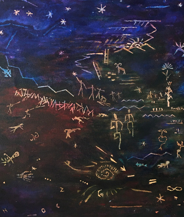 """Juanita J. Lavadie """"DIÓS NUNCA MUERE"""" 18"""" x 20"""" acrylic on canvas, NFS  A painting in continuing quasi-petroglyphic style with original gesture images, a visual narration inspired by initial choral words of the Oaxaca anthem by the same name:  CORO: Muere el sol en los montes, con la luz que agoniza, pues la vida en su prisa, nos conduce a morir. No importa saber, que voy a llegar al mismo final, Pero me queda en consuelo, en que Diós nunca morirá.  Images include concepts of our Heavenly Creator, contemporary conflicts, science, math, water, life, compassion, pain and growth.  ARTIST STATEMENT I am an artist from Taos, NM, who works with paint, prints, pen and ink, and fiber. I am also a retired classroom teacher who has always applied visual literacy and multi-sensory methods to convey concepts with students. During these past months of global pandemic, I chose to paint with concepts of awareness, hope, and belief of the healing power of the human spirit inspired with the insight from our Heavenly Creator."""