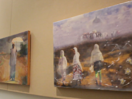 The Old Woman with Umbrella (Left) & Three Dhera Girls (Right)