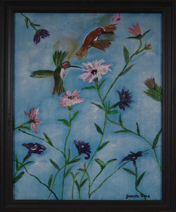 "Jeanette Baca ""Hummingbirds in the Pursuit of Happiness"" 16"" x 20"" acrylic painting on canvas $160.00  Note from the Artist: If this piece sells, please give the proceeds to the Norbertine Community.  This painting expresses my interpretation of the theme because I've always felt that hummingbirds are a sign that all is well and I'm immediately filled with hope, love and gratitude when one hovers around me outdoors. When our son passed away the early part of this year, I  would plead for a sign that his spirit was still with us and he was all right. Inevitably, a hummingbird would come so close to me sometimes, I felt I could reach out and touch him. It has been a healing sign for me.  ARTIST STATEMENT I am a proud Native New Mexican, born and brought up in the beautiful South Valley of Albuquerque. I took up painting only four years ago because I was finally at a point where there was actually enough time to take up a hobby. What made it more fun is the fact that both my husband and I started painting at the same time, so it was a great way to be together while experiencing something new. Having an idea and putting it onto canvas with a paint brush has offered me a great deal of serenity and relaxation and has been a form of therapy in good times and in bad. Painting has offered me a wonderful distraction especially during this time of extreme grief and loss of our son, Marcos, this year. Contact: (505) 379-2976"