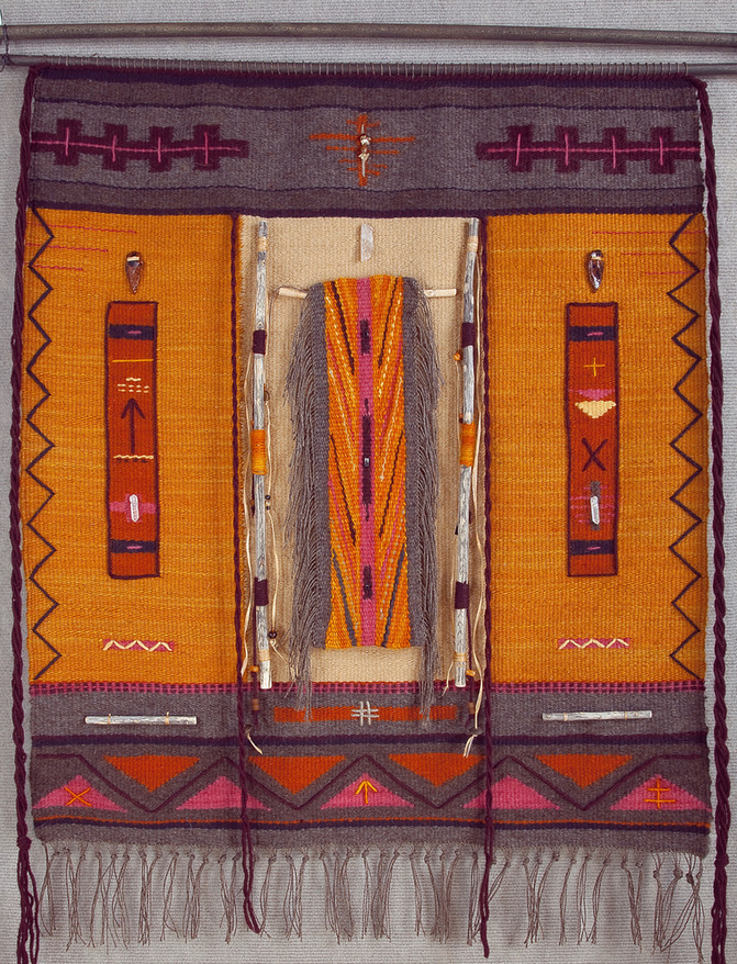 "Donna Foley ""Incantations at Dawn"" 33"" x 37"" tapestry $2200.00  Wool and silk yarns naturally dyed with cochineal, madder root as well as local lichens and cota (Navajo tea). Finished with yucca stalks, crystal, arrowheads, citrine, carnelian stones and other beads.  Inspired by dawn in the beautiful desert near the Gila Wilderness, this is my prayer for clarity and hope for the new day.  ARTIST STATEMENT I weave my tapestries as maps of my spiritual journey. The topography is both an external terrain of the mountains and wilderness where I live as well as an internal landscape of meditations and dreams. Natural dyes from plants and lustrous wool from my sheep are important elements in my weavings. Many of my tapestries incorporate symbols such as petroglyphs, runes and I Ching hexagrams. Found objects such as stones, feathers, roots and beads often find their way into my work.  Contact: donna.fourdirections@gmail.com Website: www.fourdirectionsweaving.com"