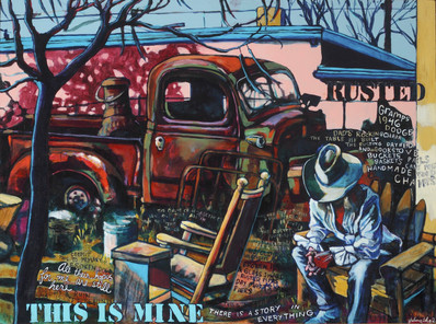"""Juliana Coles """"This is Mine"""" 37"""" x 49"""" x 2"""" acrylic painting on wood panel, framed $5000.00  I was ashamed of my rundown old house and dirt-filled yard but the pandemic has shown me the abundance and blessings; the truck alongside discarded relics is a treasure trove of family memories. This jewel toned painting represents the preciousness of life we carve out for ourselves in the high desert. Our gold is a place where rusted trucks are part of the landscape, wild Lamb's Quarters growing in caliche soil are sustenance, and a muddy trickle called the Rio Grande is the Mighty Mother that feeds us all. Hope and healing has always been exactly where we are.    ARTIST STATEMENT As an epileptic, I graft my reality by the fragments I piece together in my work. I combine gutsy graphic images with provocative text to create mixed media works that are emotionally uninhibited and challenge societal comfort zones. The result is a cognitive vibrancy that is signature to my self-expression. My projects are never preconceived but spontaneously emerge from the unknown through a unique multi- layering process of breaking down and rebuilding.  Contact: (505) 341-2246 or meandpete08@gmail.com"""