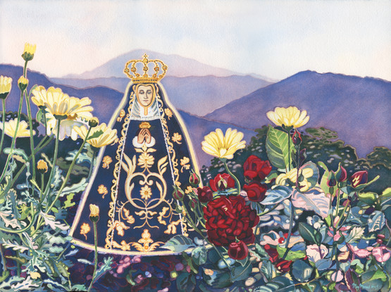 """Meg Munro """"Sorrow Becomes Compassion"""" 22"""" x 30"""" (30"""" x 38"""" framed), transparent watercolor on Arches 300 lb. rag  """"Sorrow Becomes Compassion"""" is an image of Nuestra Senora de Soledad from Oaxaca. I put her with the red roses of sorrow and the daisies of light-heartedness. The purple mountains are at the opening of an alluvial fan in the Sierra Madres near Puerto Vallarta, MX. If we go to Our  Lady with our pain and sorrow, if we allow ourselves to acknowledge it and be with it, then it is transmuted so that we understand the fullness of life and our hope is renewed that all is well.   ARTIST STATEMENT Since 2012, after putting Guadalupe into one of my paintings, my art-making merged with my spiritual longings. I currently have 11 """"Apparition"""" paintings and several more drawn and waiting to be painted. Two corona virus-inspired drawings have bumped to the head of the line. It is my consolation and honor to be painting the Apparition series."""