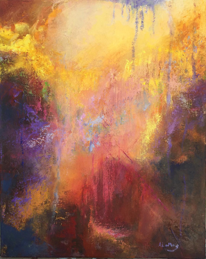 """Ann LeMay  """"Sky Falls Over"""" 16"""" x 20"""" oil painting $600.00  This piece for me speaks of hope and healing due to the upward motion and the yellow golden upper area of the painting. I think it represents transcendence.   ARTIST STATEMENT During the years while I was a therapist I was able to work with suffering of all kinds and for all kinds of reasons as well. Whether it was childhood traumas, current conflicts, relationship struggles, dealing with loss of loved ones, or one's own journey of death and dying. Though I loved the work deeply and believed it had great value to many, it nevertheless was impacted by their pain. So going outside to paint, often with friends, was my therapy. After retirement I began to paint abstractly and this allowed me to paint more from my own inner feelings and it's a journey as I'm never sure where it will lead.  I'm a clinical psychologist but retired now and devoting my working life to painting. That is what nourishes my soul so richly and I'm doing something I love and thus love to share it.  Contact: aplemay1@yahoo.com Website: annlemay.com"""