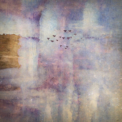 """Carol Mell """"Bird's Ascension"""" 16"""" x 16"""" x 2"""" mixed media (pigment print, beeswax, oils) $650.00  I believe this painting expresses the idea of a vision of hope and healing. I have always watched the birds, and believed what I was taught by the Native people, that they carry messages between humans and the heavens. In this time of great trial, I depend on the little birds to carry my prayers to the ears of the watchful God. I have few actions to take, but the one I feel certain about, is to give seeds to the birds and put out water every day for their use. I have hope that the world will be better one day for them and for us.   ARTIST STATEMENT Carol Mell grew up in Oregon where she played in a world of imagination; where trees, sturgeon, squirrels and whales spoke. She earned a BFA in Dance from The Juilliard School. Her journey through dance, writing and photography led her to painting, both digitally and physically. From her Rio Rancho studio, her digital images are printed, mounted on panel, then painted and textured with beeswax and oils. Her paintings represent perfect hours in the sun and rain in a world created for healing and joy. She exhorts her fans, collectors and friends to """"Follow the Dirt Road in Your Soul.""""  Contact: (575) 770-0743 or artist@carolmell.com Website: www.carolmell.com"""