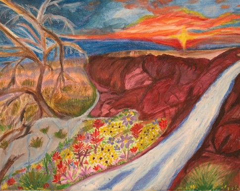 """Kazumi Kawakubo-Todman  """"Streams in the Desert"""" 11"""" x 14"""" acrylic painting  The title of my piece is called, """"Streams in the Desert."""" My vision of hope and healing was inspired by God's Words in Isaiah 35: """"The desert will blossom with flowers.... Springs will gush forth in the wilderness, the streams will water a desert,"""" especially taken from Isaiah 35:1b, 6b. Even in the difficult time and uncertainty we are living, we can always go to our God and trust God's healing through hope, encouragements, comfort, and strength. My prayer is that God would minister to those with difficulties and pains, through Streams in the Desert, the inspiration God placed for hope and healing in my heart.   ARTIST STATEMENT Kazumi Kawakubo-Todman is a local resident and has been involved in the Albuquerque Sister Cities Foundation as a chair for Sasebo and Albuquerque Sister Cities Committee for the last 25 years."""