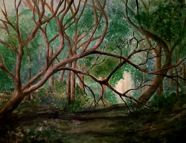 """Annette Kingman """"Light in the Forest"""" 16"""" x 20"""" oil painting $350.00  The isolation and worry of covid 19 feels like a dark forest – not lacking beauty, but sometimes hard to navigate and definitely dangerous in its way. Hope is the light, guiding our way to happiness, health and stability.   ARTIST STATEMENT As an oil painter and pen and ink artist, I love to try and capture emotions in my work. I have exhibited for many years, and have sold works across the US and three other countries. I teach adult lessons, and give specialty lectures in art history at UNM. I am part of the Perspectives Art Group.  Contact: akingman@unm.edu"""